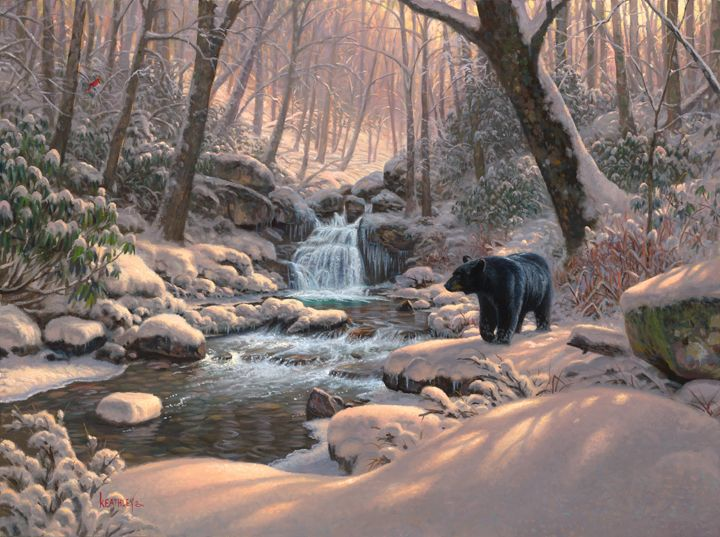 Seasons of Life IV by Mark Keathley ~ winter forest black bear stream