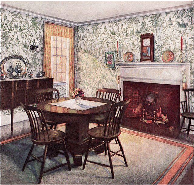 https://flic.kr/p/5Gr8QE | 1926 Traditional Dining Room | The Wallpaper Manufacturers Association managed to publish some consistently attractive advertisements during the 1920s. Most were suitable for Colonial Revival style home and featured toile patterns.