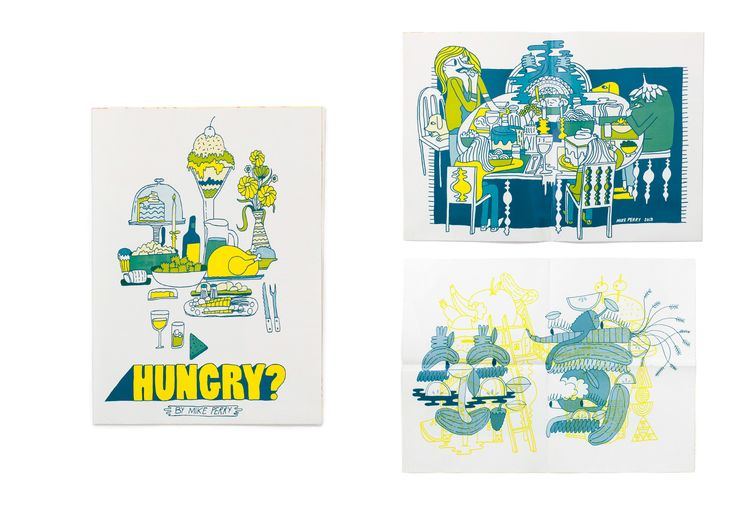 Print by Mike Perry Fluoro yellow Thin line illustration Text and image combination