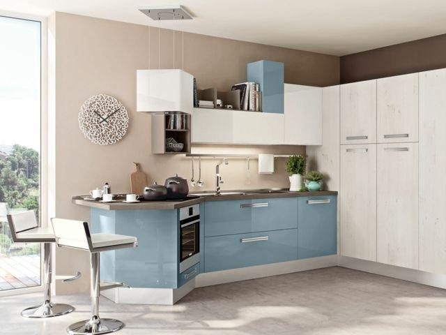 Küche Hellblau weiße küche praktisch platzsparend gestalten hellblau weiß wohnung