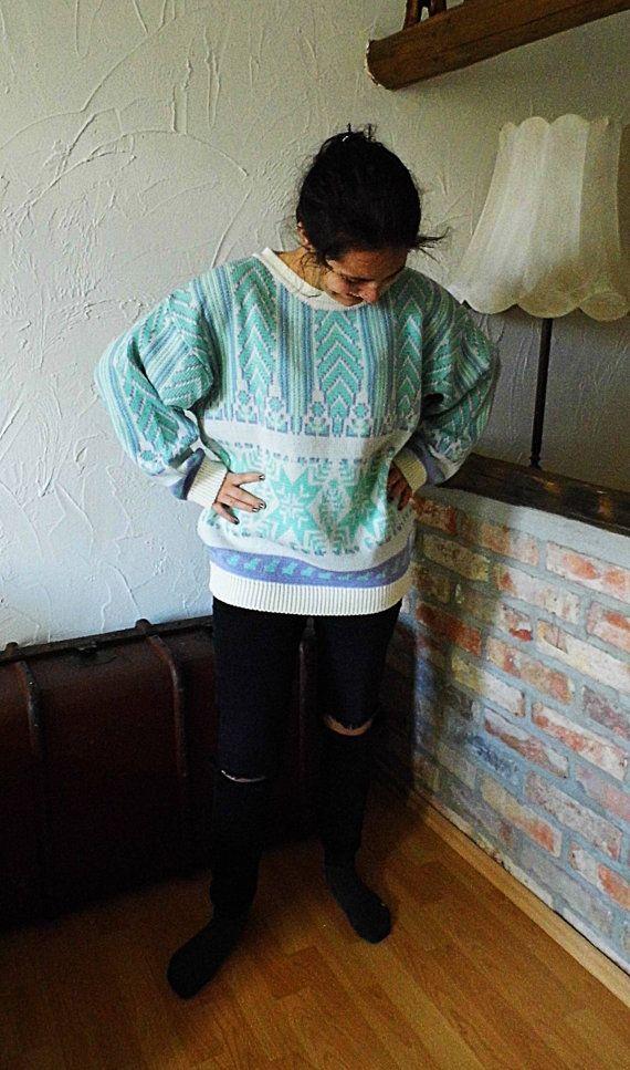 Norweger Rentier Pullover Sweater Swetshirt Gr. 44 von Gernewieder