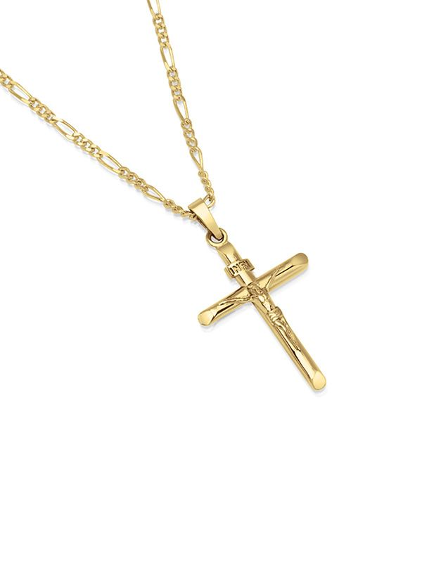Free Shipping Buy 14k Gold Plated Sterling Silver Inri Crucifix Cross Pendant Figaro Cha Cross Pendant Necklace Woman Gold Cross And Chain Mens Cross Necklace