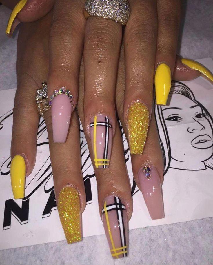 Baddie Nailart Naildesigns Gelnail Yellow Coffin Acrylic Yellow Coffin Acrylic Nails Pretty Acrylic Nails Acrylic Nails Coffin Glam Nails