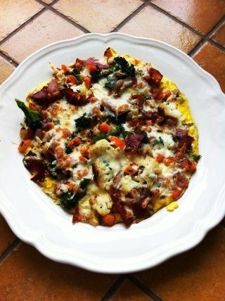 Omelette au prosciutto et légumes gratinée #brunch
