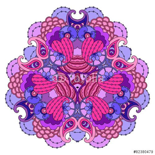 Вектор: Purple-pink mandala on white background.