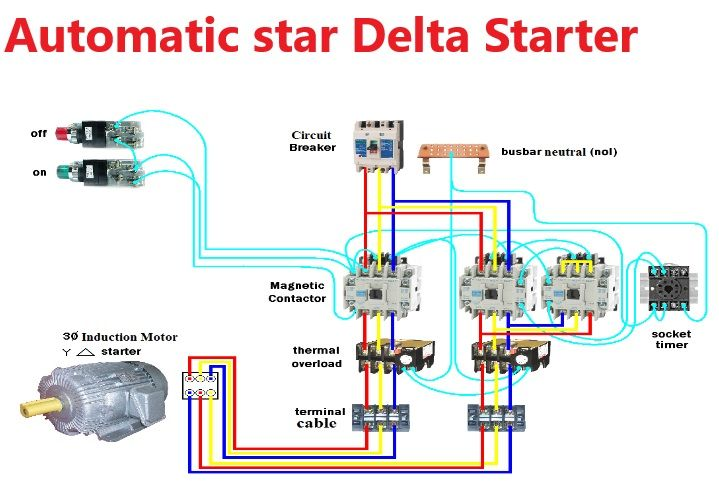 Star Delta Starter Y D Power Control Wiring Automatic Star Delta Y D With Time Delta Connection Home Electrical Wiring Delta