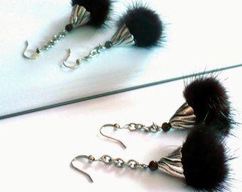 Boucles d'oreilles Eco-design Acier Inox, Oeil de Tigre & Fourrure de Vison Vintage Bijoux Pierre Semiprécieuse