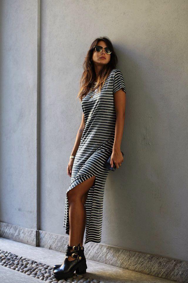 Chiara Biasi con il nostro vestito a righe su www.gglamour.it