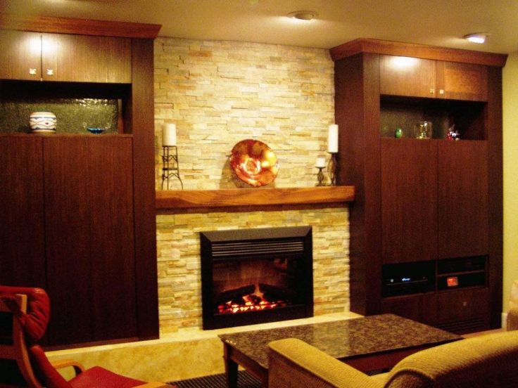 Enchanting Modern Black Fireplace Design Idea With Floating Wooden Mantel  Added Candles In Fireplace Feat White Brick Wall Exposed And Built In Brown  ...