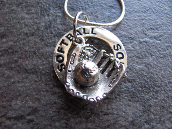 Softball Necklace:  Silver Softball Charm Necklace on Etsy, $20.00