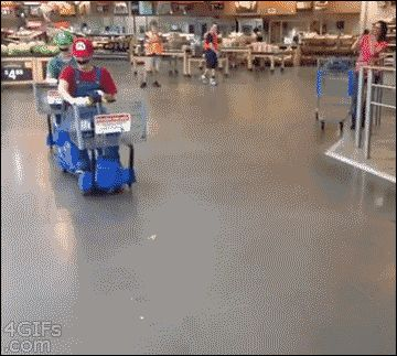 How to properly use motorized shopping carts - only thing wrong with this gif is the distinct lack of the Luigi Death-Stare...
