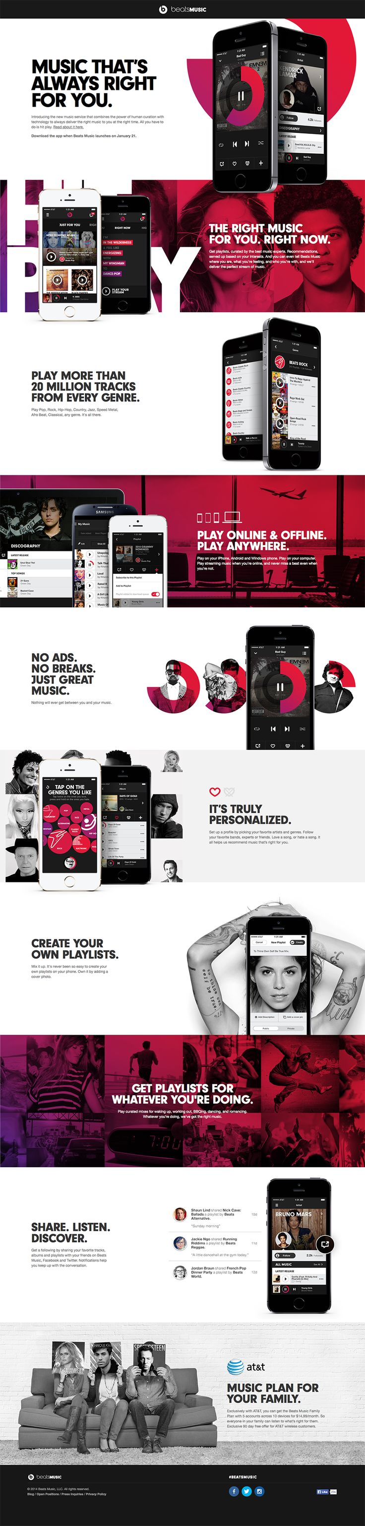 Cool Web Design, beatsmusic. http://www.pinterest.com/alfredchong/] more on http://themeforest.net/?ref=Vision7Studio