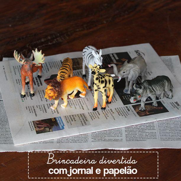 Brincadeira divertida para fazer com as crianças usando reutilização, usando jornal e papelão.