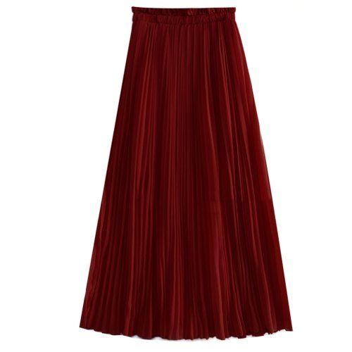 Tobey Women's Solid Vintage Chiffon Pleated Maxi Skirt Midi Short Waist Dress (Wine) eYourlife2012 http://www.amazon.com/dp/B00JUMOO42/ref=cm_sw_r_pi_dp_bGvVtb1JDGSQK969