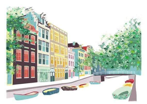 Amsterdam Bloemgracht- A4 cityscape Print