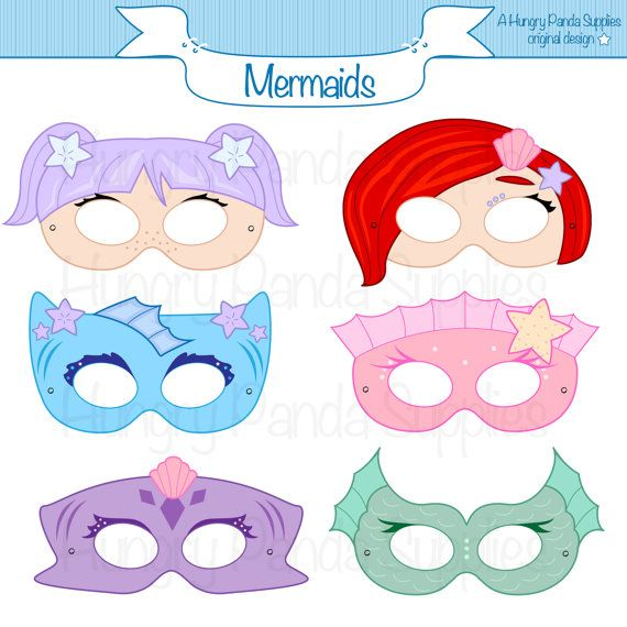 Mermaid Printable Masks mermaid