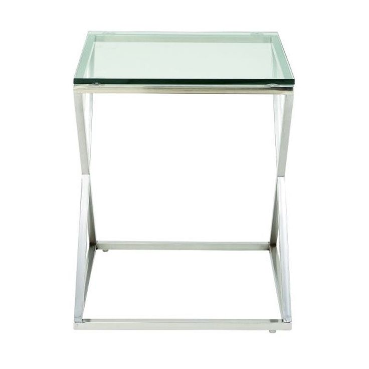 Benzara Stunning Stainless Steel Glass Side Table (Chrome Silver)