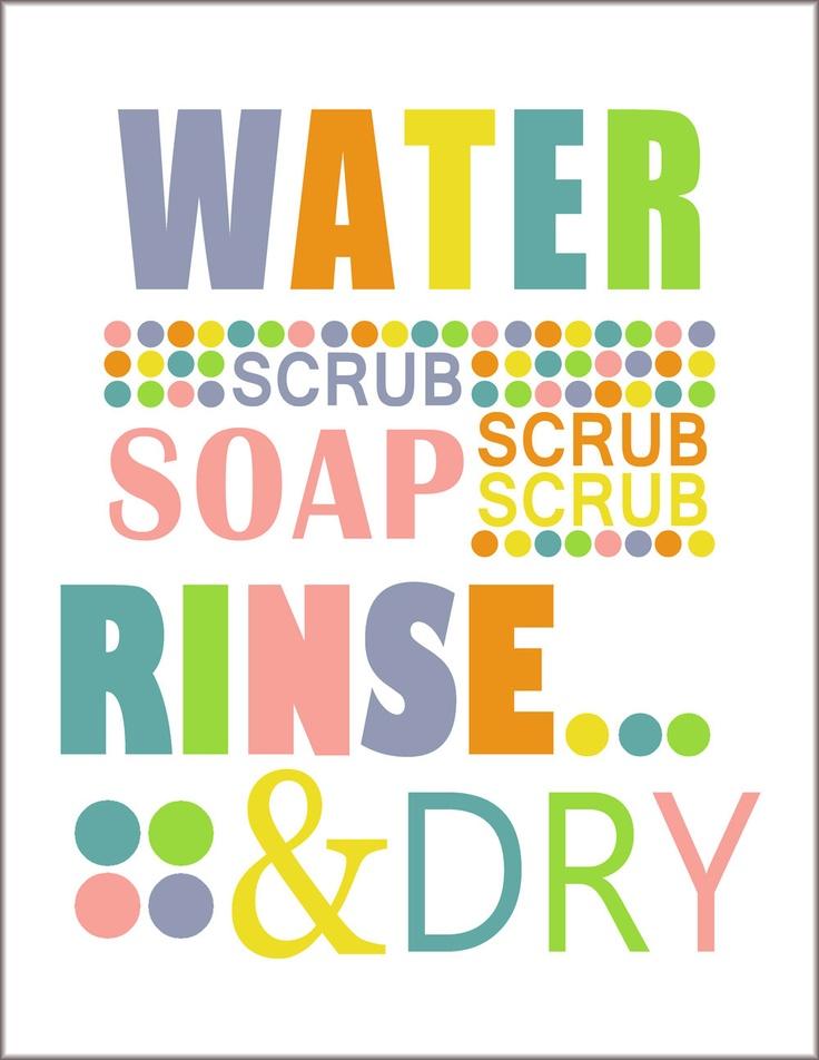 Items Similar To Bathroom Print Wash Your Hands Child S Modern Bathroom Wall Art Prints Wash Your Hands Blue Green Orange Polka Dots On Etsy