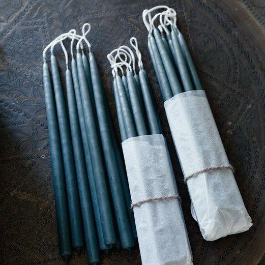 Mini Taper Candles, Set of Ten Aloe Green
