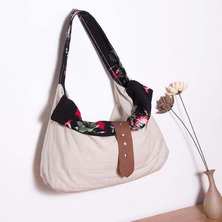 Women Printing Floral Casual Black Shoulder Bag