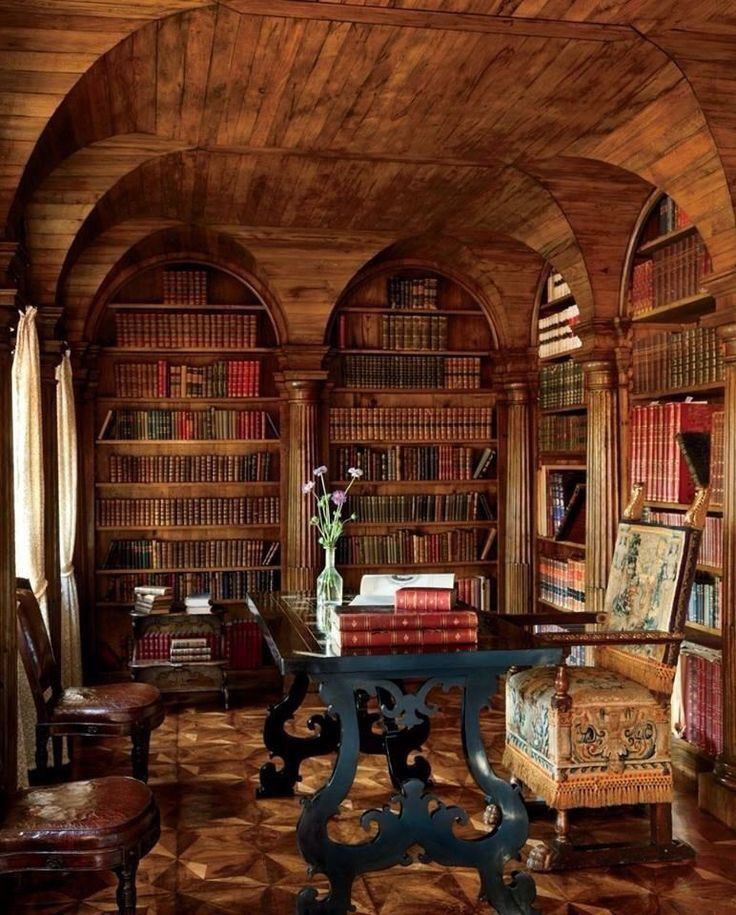 Mahogany Home Library Office: Venetian Home Office And Library