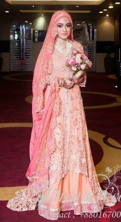Romantic Bangladeshi Hijabi Bride in Shades of Pink