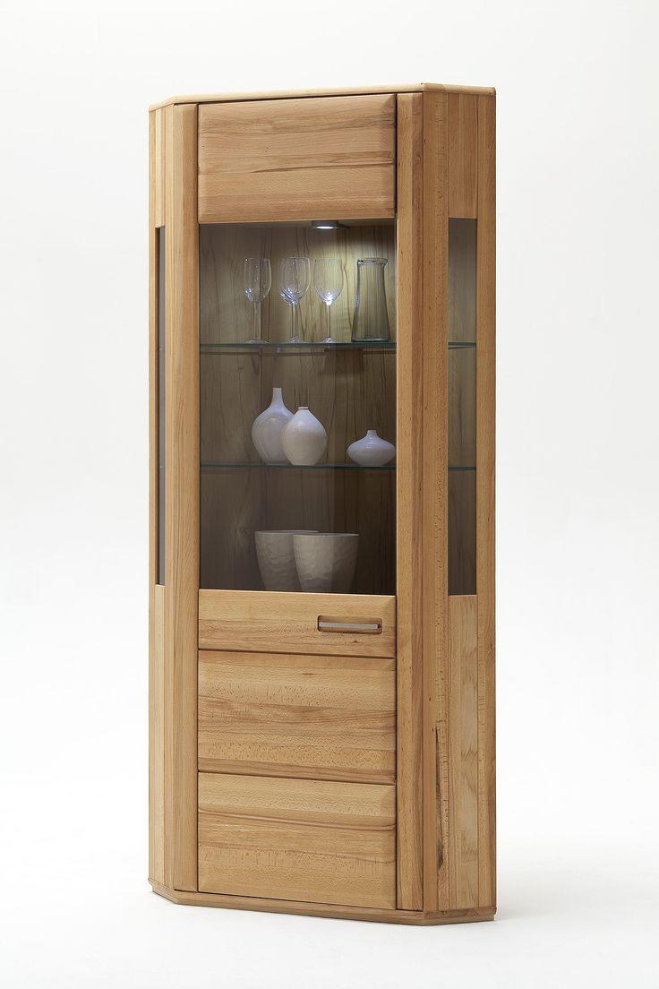 Eckvitrine Lenor in Kernbuche oder Eiche Bianco zeitlose Möbelserie Massivholz 1 x Eckvitrine mit 1 Glastür und Einlegeböden Maße: B/H/T ca.   69 x 209 x...