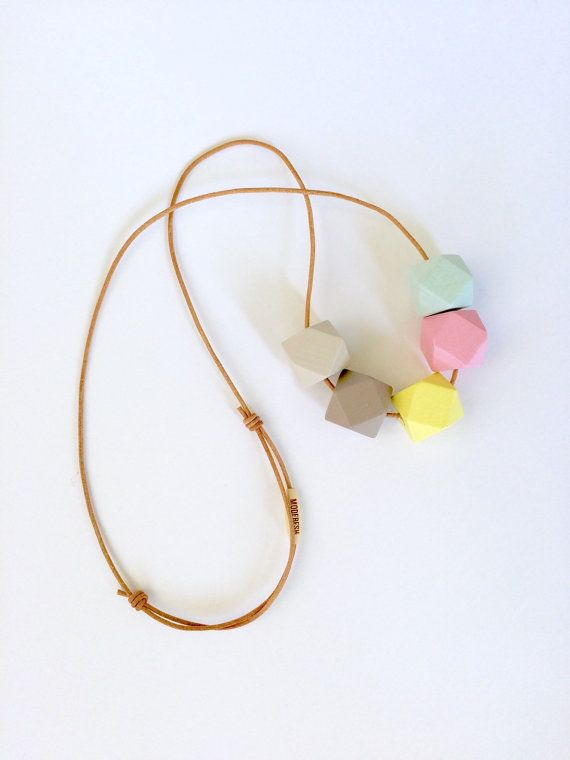Hand painted geometric wooden bead necklace/ statement necklace/ faceted beads/ bridesmaid/ pink/ yellow/ mint and grey/ pastel/ hexagons