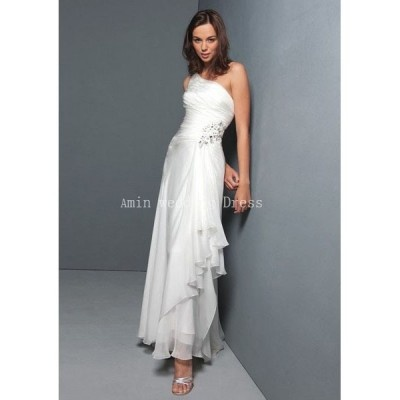 Fancy Wedding dress online shop Chiffon Sleeveless Asymmetrical Neckline Rouched Bodice Sheath Pick up Skirt Pinched with Beaded Detail Hot Sell Wedding Dress