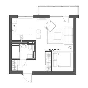 Современный интерьер квартиры-студии со спальней