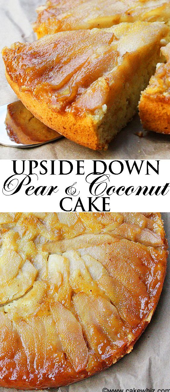 This soft and moist UPSIDE DOWN PEAR COCONUT CAKE is a great way to use up all those ripe pears. Top it off with some white chocolate shreds and it's a heavenly Fall/Autumn dessert! From http://cakewhiz.com