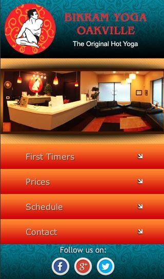 Custom Ubertor mobile website for Bikram Yoga Oakville