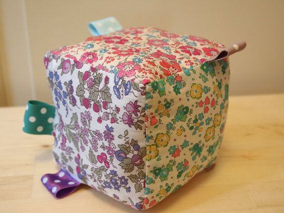 Rattle block using Liberty Tana Lawn fabric. Gift with style!