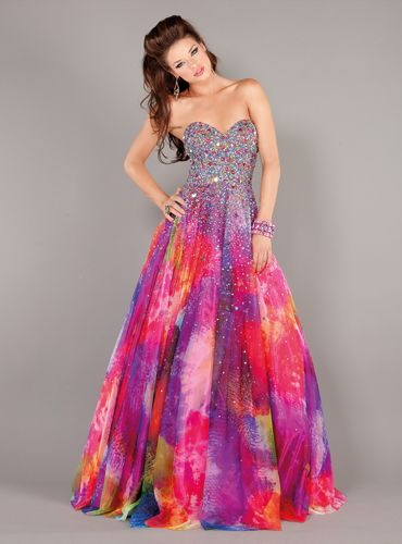 Rainbow Wedding Dress | Jovani 6757 Rainbow Print Dress | MagicMomentsProm.com