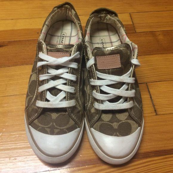 Bronze coach logo tennis shoes Size 7 coach tennis shoe with gold & bronze logo design Coach Shoes Athletic Shoes