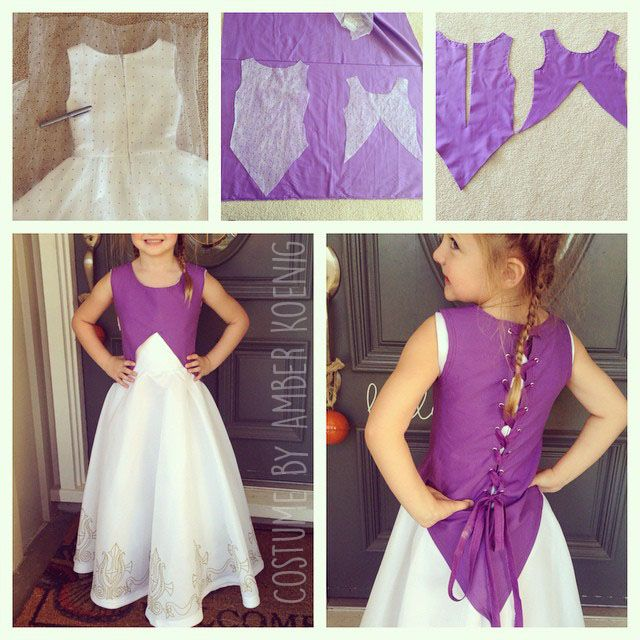 """The making of my daughter's Princess Zelda costume. I had never attempted to make a pattern before. I just put the dress on the floor and traced the shape. After I sewed the two pieces together, I added grommets up the back and some scrap fabric to make a ribbon to lace up the back."""