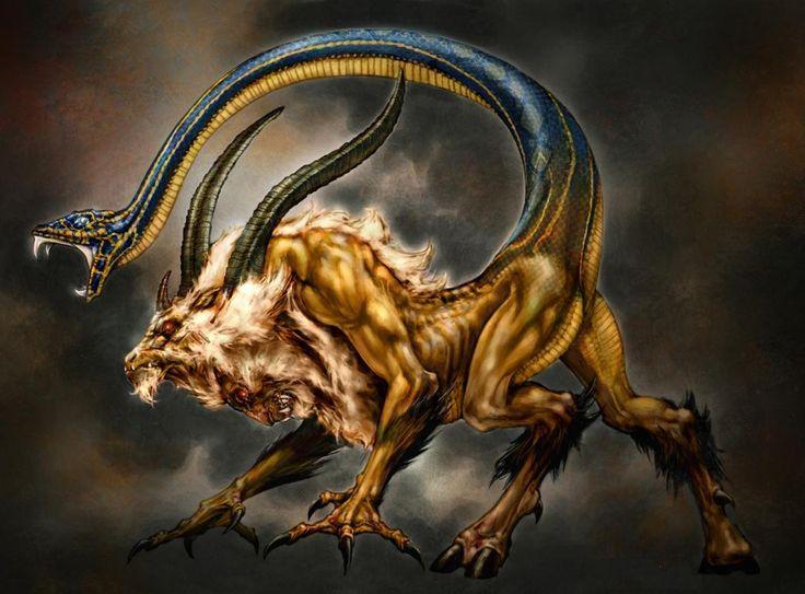#Quimera  En la mitología griega, Quimera (en griego antiguo Χίμαιρα Khimaira; latín Chimæra) era un monstruo horrendo, hija de Tifón y de Equidna, que vagaba por las regiones de Asia Menor aterrorizando a las poblaciones y engullendo rebaños y animales. Fue madre con Ortro de la Esfinge y el León de Nemea.  «Quimera» procede del griego Χίμαιρα Khimaira, que significa 'macho cabrío'.