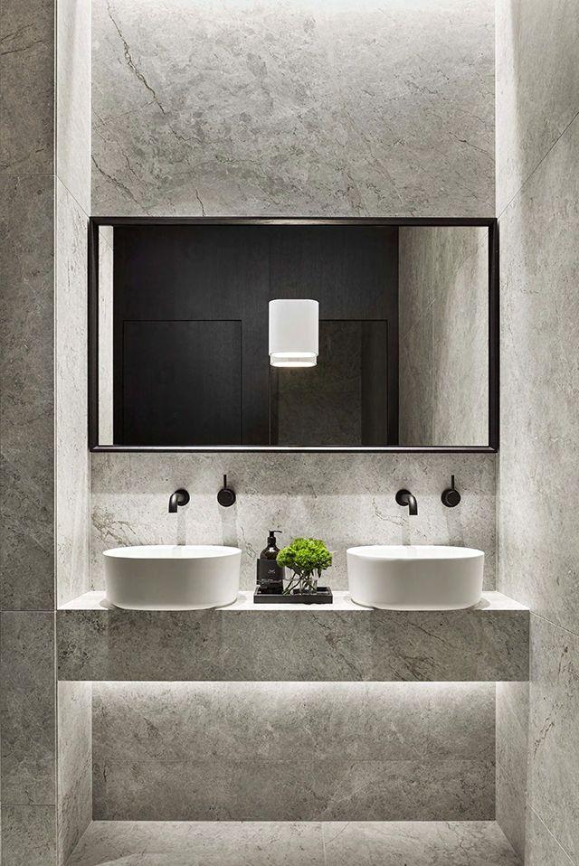 Concrete tiled bathroom | PDG Melbourne | Workspace Design by Studio Tate