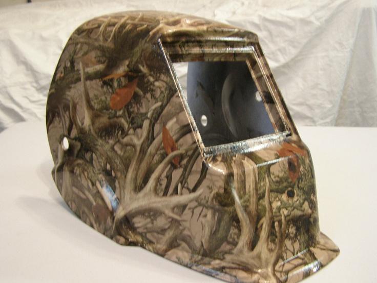 Welding helmet in camo print Hydrographics by Liquid Carbon Shop in Ontario Canada