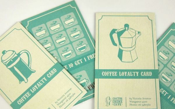 Identity system for Cactus Creme Cafe. I really like their loyalty cards.