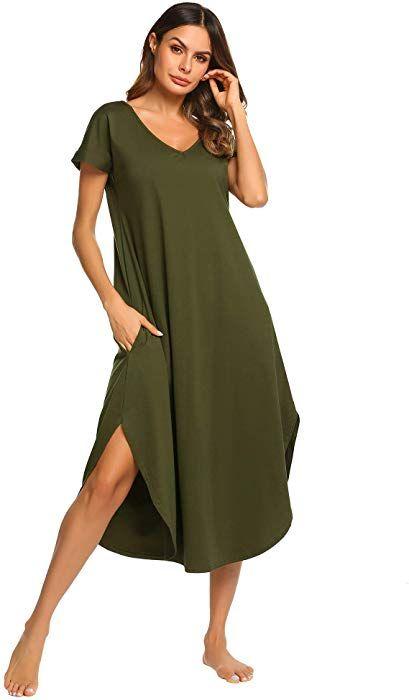 54a28ab5e05 Ekouaer Sleepwear Womens V Neck Nightshirt Casual Loungewear Short Sleeve  Long Nightgown