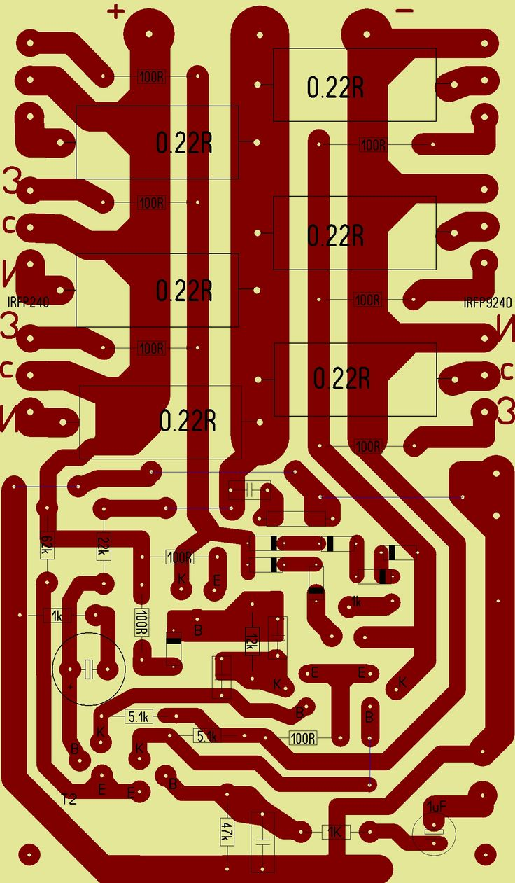 Печатная плата для MOSFET усилителя