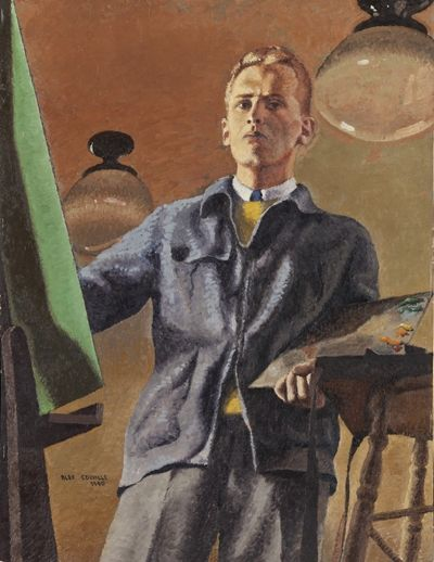 Self portrait by Alex Colville (b. 1920) via Mount Allison University.