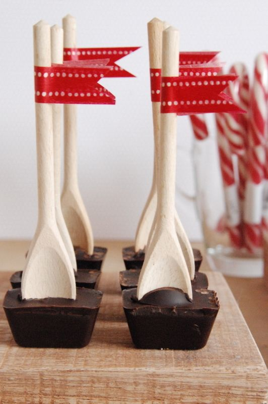 A gorgeous Christmas cookie party | Chickabug: miniature wooden spoons used to make cocoa dippers!
