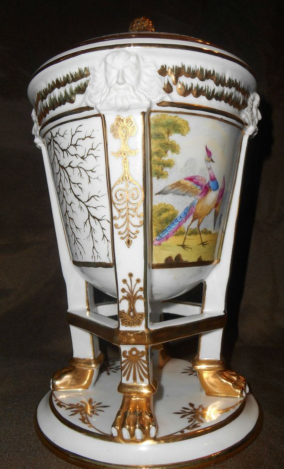 Old Paris FRENCH PORCELAIN Ecuelle Rare Ca. 1810 Paw Footed Urn~ Hand Painted Birds ~ Bisque Faces ~ Gold Gild Antique Dish ~ Fruit Cooler