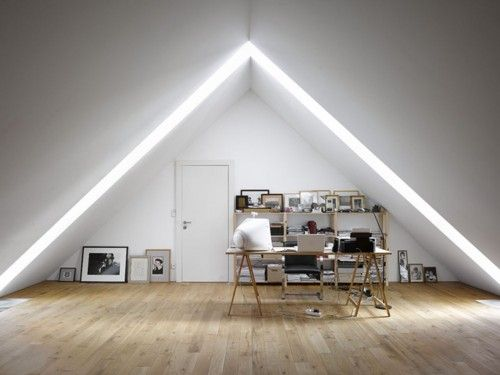 .: Offices Work, Loft Offices, Offices Design, Attic Spaces, Inspiration Boards, Work Spaces, Workspaces, Attic Offices, Home Offices