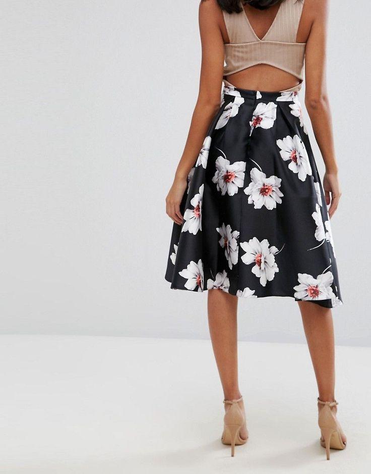 Jessica Wright Floral Prom Skirt - Black