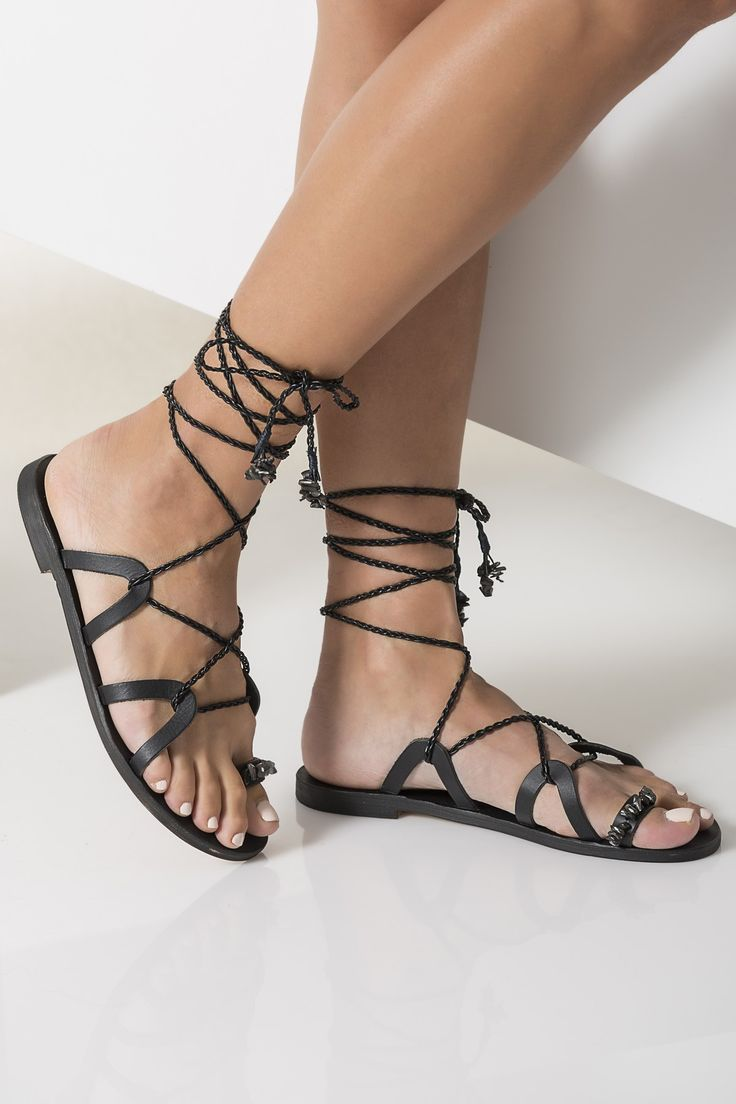 Luxurious black lace up sandals with braided straps, Electra
