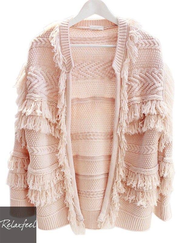 Relaxfeel Women's Pink Long Sleeve Fringe Knitted Cardigan Coat - New In