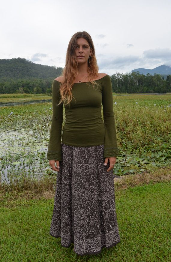 Juliette Top - Green, Long Sleeved Top, Faerie, Pixie, Goa, Gothic, Hippie, Bohemian, Gypsy Top.